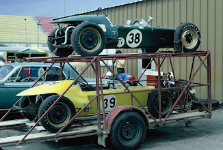 Photo: October 1970 ; photo by Weldon Nash; Nash Scramblers No. 38 (original car) and No. 39 (3rd car built) on double-deck trailer designed and built by Ron Nash; this was at an SCCA National Race at TWS, College Station, TX and was the first time that both cars competed together.