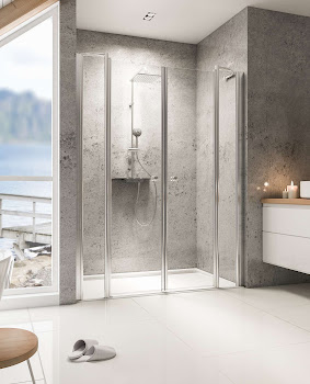 Portes de douche battantes en niche, jusqu'à 200 cm, 4 éléments (largeur > 1200 mm)