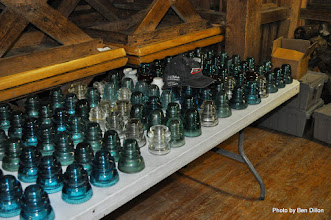 Photo: part of Blakes collection of glass insulators