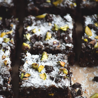 Chunky Dark Chocolate Coconut & Pistachio Brownies