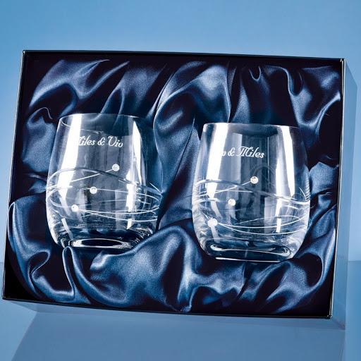 Engraved Swarovski Crystal Whisky Tumblers