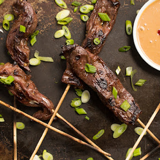 Beef Satay Skewers with Peanut Dipping Sauce Recipe