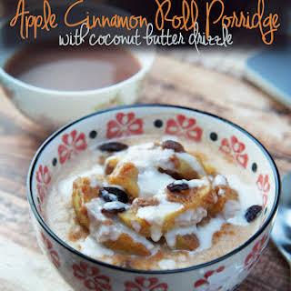 Apple Cinnamon Roll Porridge with Coconut Butter Drizzle.