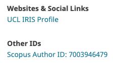 webové stránky, sociální odkazy a další ID