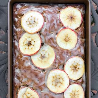 Healthy Whole Wheat Cinnamon Apple Cake with Maple Glaze.