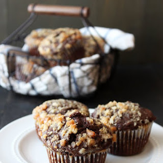 Chocolate Coffee Toffee Crunch Muffins.