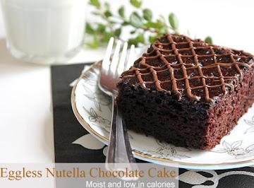 Eggless Nutella Chocolate Cake Recipe