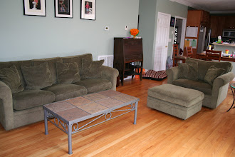 """Photo: $300 Crate & Barrel Couch (6' long) + $250Crate & Barrel Oversized Chair (2'8"""") w/ ottoman + $50Tile Coffee Table"""