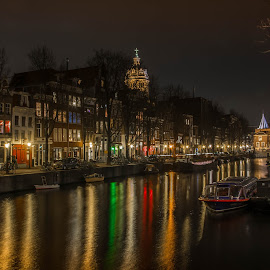 A night in Amsterdam by Marcel Eringaard - City,  Street & Park  Historic Districts ( night photography, night lights, holland, d7100, the netherlands, night, amsterdam, nacht, nikon, night shot, nightscapes, nightscape )