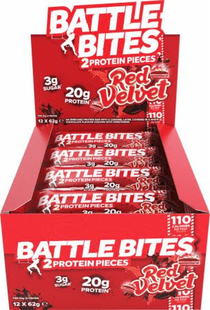 Battle Bites Protein Bars 12 x 62g - Red Velvet