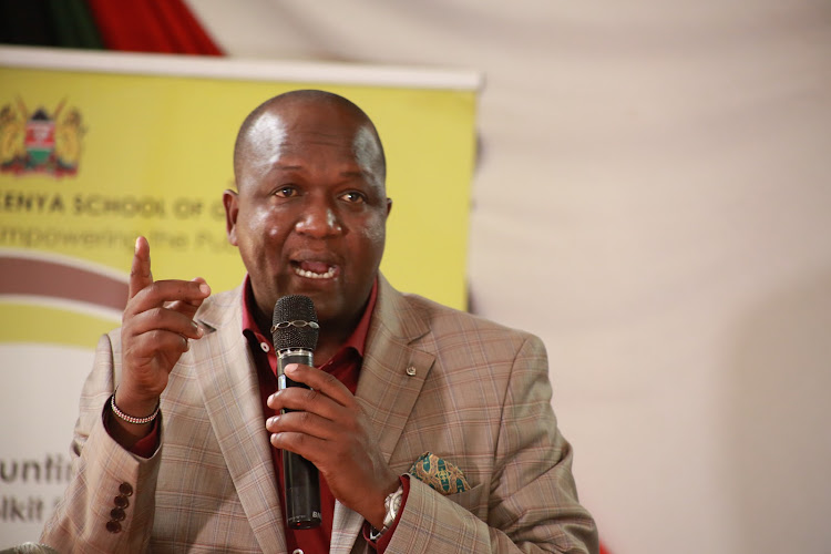 Tiaty MP William Kamket at peace meeting at the Kenya School of Government in Kabarnet town, Baringo, on Friday, November 6.