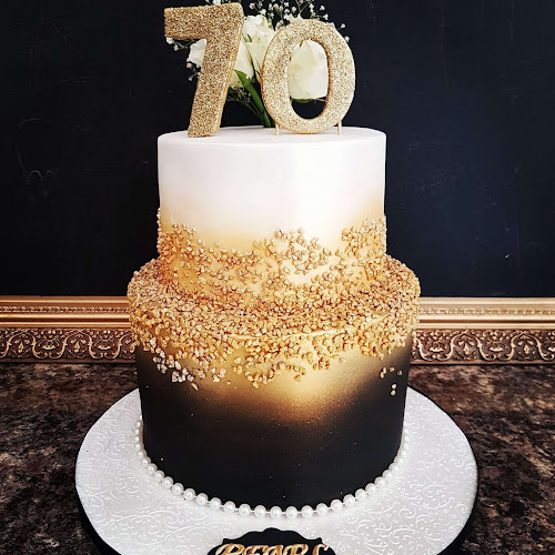Gold and Black 70th Birthday Cake by Lilli Oliver Cakes Manchester