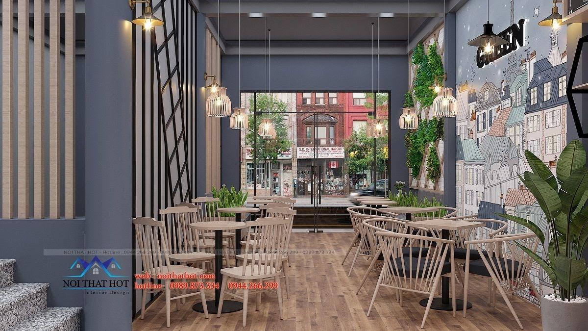 thiết kế quán trà sữa green 7
