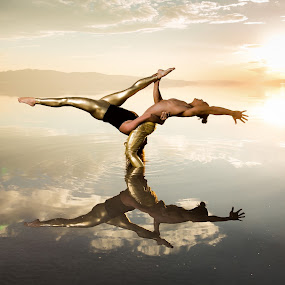 Acro Yoga by David Terry - Sports & Fitness Fitness ( water, reflection, fitness, strength, sunset, lake, acro yoga, yoga, acrobatic )