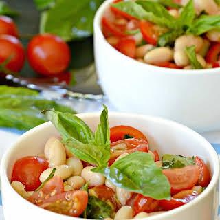 White Bean Cherry Tomato Basil Salad.
