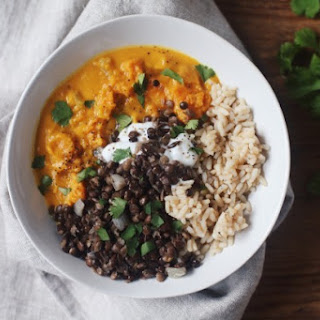 Sweet Potato and Coconut Stew with Brown Rice and Lentils