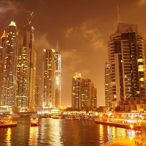 Marina at Night by Maria Reroma - Buildings & Architecture Office Buildings & Hotels