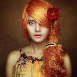 RED Flower by Azal Akasyah - People Portraits of Women ( portraiture, dramatic portrait, tutorial, portrait, photoshop )