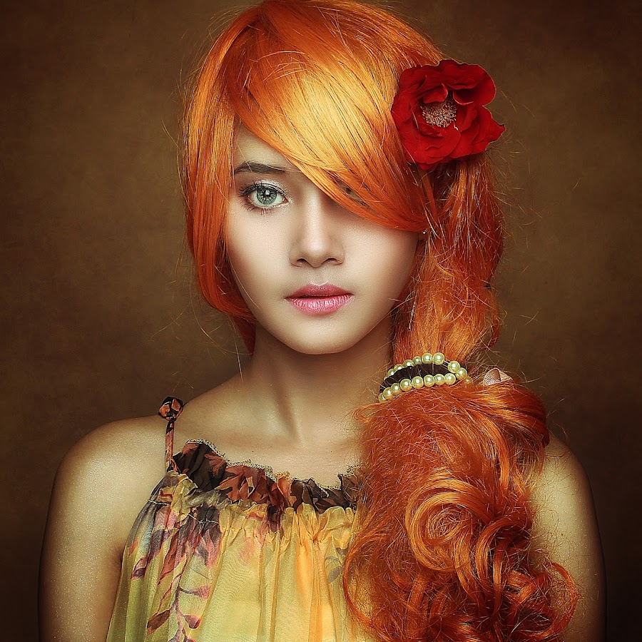 RED Flower by Azal Akasyah - People Portraits of Women ( portraiture, dramatic portrait, tutorial, portrait, photoshop )