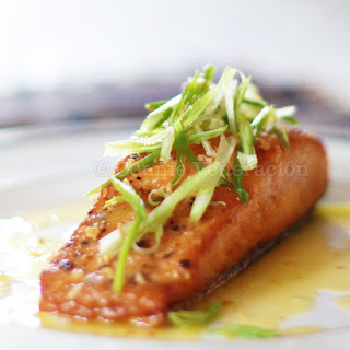 Pan-grilled Salmon Fillet With Lemon-butter-garlic Sauce.