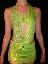 Photo: To return to Act2DanceCostumes Home Page..... double click on photo.... then CLICK HERE to link back.. http://www.act2dancecostumes.com/    To buy, reference (CSD- Lime Green Halter w/attached skirt ) & email me at Pam@Act2DanceCostumes.com $145.00 Qty (1) Size: (1) Child Large Manufacturer: Kelle TONS OF RHINESTONES!! Semi-Custom. What a unique design! Halter top with bra top under attached to a fitted skirt with booty shorts. See photos for details. One side of halter is sequined the other is rhinestoned....creates a very cool look! Paypal/Checks accepted. $10US Shipping/$3 additional items. 7 day returns, same conditon. Thanks! CSD050