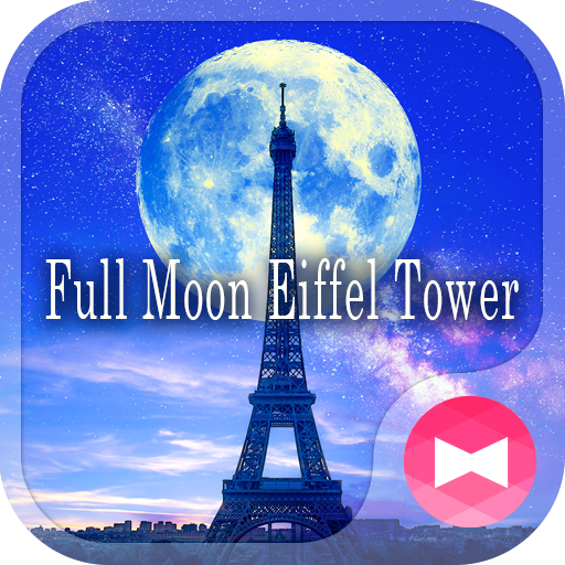 Beautiful Wallpaper Full Moon Eiffel Tower Theme Icon