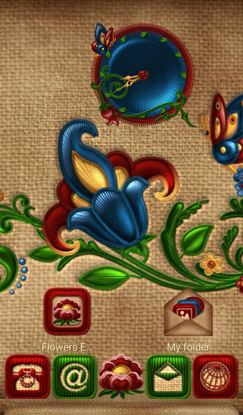 NEXT TSF  Smart LAUNCHER FLOWERS  EMBROIDERY THEME- screenshot