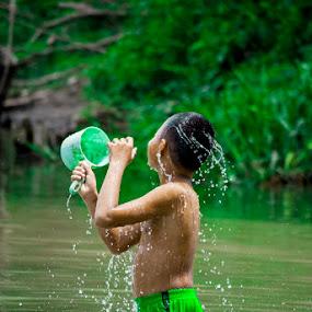 by Kesuma Wijaya - Babies & Children Children Candids ( sungai, water, asahan, swim )