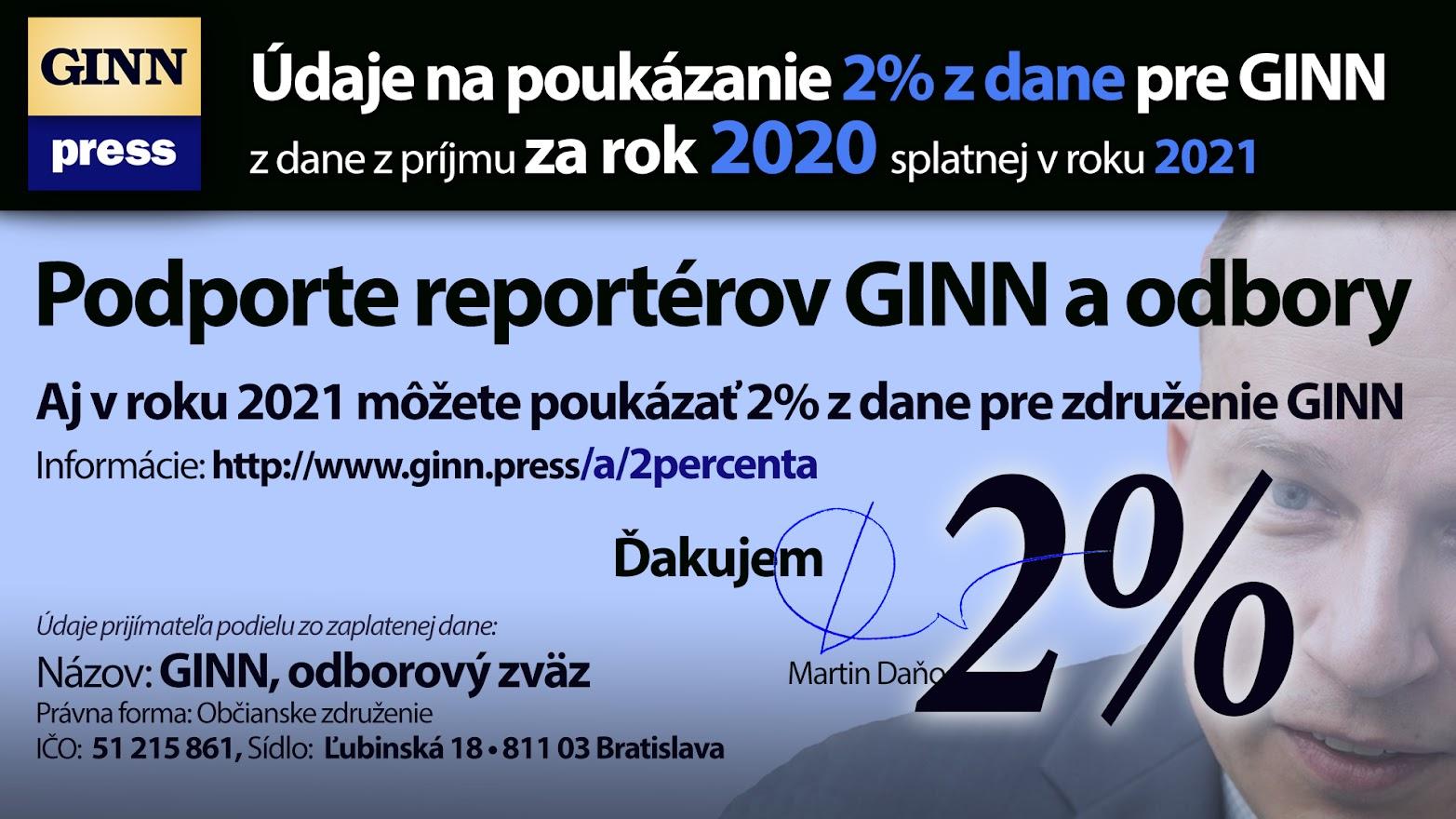 Údaje na poukázanie 2% z dane za rok 2020 pre GINN.PRESS, Martin Daňo