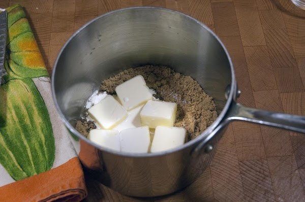 Add the brown sugar, salt cream, butter and brandy (if using) to a saucepan.
