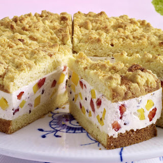 Mango and Strawberry Crumble Cake.