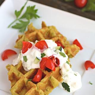 Falafel Waffle Bites with Tzatziki Sauce.
