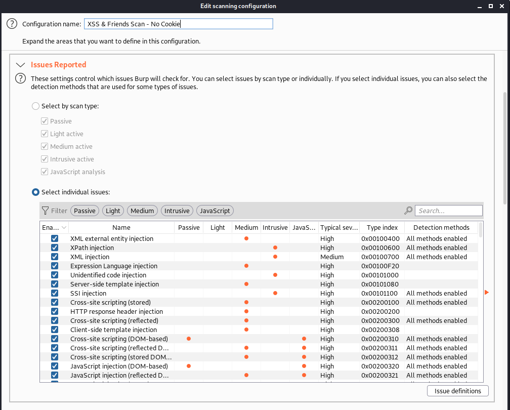 """screenshot of Burp Suite """"edit scanning configuration"""" page with No Cookie name"""
