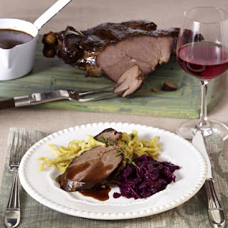 Roast Venison with Red Cabbage and Spaetzle.
