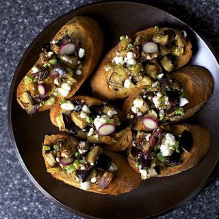 Eggplant Salad Toasts.