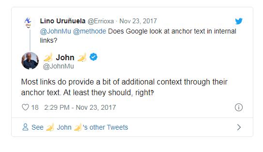 цитатат мюллера о том, что google учитывает анкор ссылки