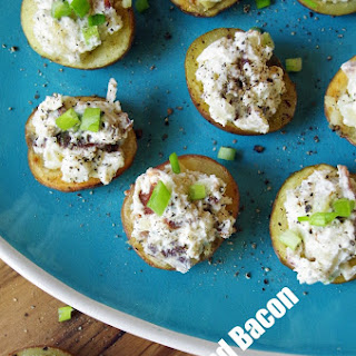 Blue Cheese and Bacon Stuffed Red Potato Appetizer.