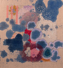 """Photo: Transpose 14"""" x 15"""" Hand embroidery, hand stitched bead work and acrylic paint on linen.  All rights reserved c Karin Birch 2014"""