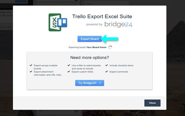 Trello Export Excel Suite