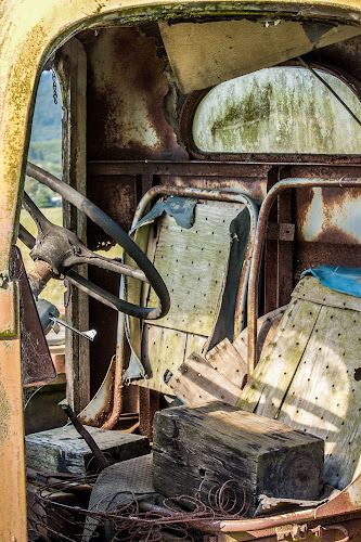 In The Driver's Seat by Craig Pifer - Transportation Automobiles ( broken, dilapidated, oregon, worn out, ruins, rust, old truck, antique, worn down )