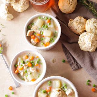 Chicken Pot Pie Potato Chowder & Rosemary Drop Biscuits
