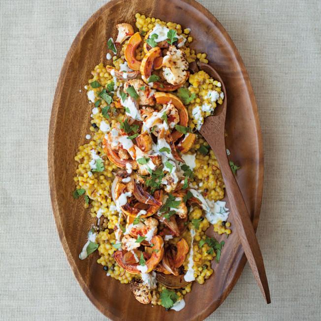 Fregola with Cauliflower, Delicata Squash and Harissa Recipe | Yummly