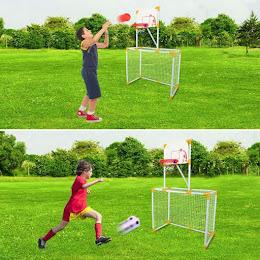 Poarta de fotbal si cos de baschet detasabil, 95x46x145 cm