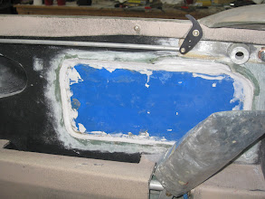 Photo: Pilot side window flox and microed in place.  I sure hope we can get the micro off the plastic covering the window!