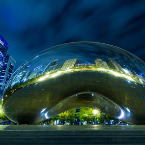 Chicago Cloud Gate The Bean by MIGUEL CORREA - Buildings & Architecture Statues & Monuments ( chicago skyline, skyline, sky, night, cloud gate, chicago, nightscape )