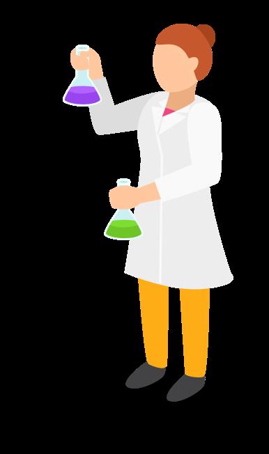 Scientist holding beakers