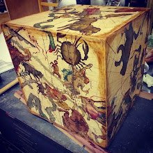 Photo: Celestial Maps from 1600s transferred to a hand-built wooden box I made