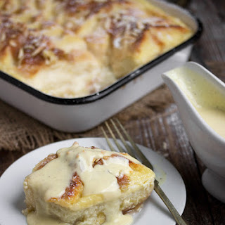 Rhubarb Bread Pudding with Creme Anglaise.