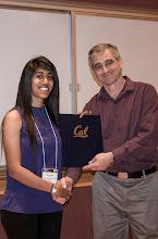 Photo: Sahaana Suri accepting the Jim and Donna Gray Endowment Award.