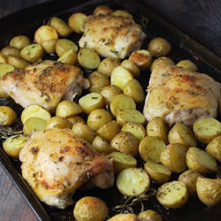 Sheet Pan Rosemary Roasted Chicken and Potatoes.